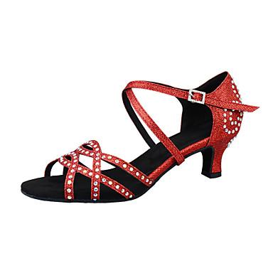 baratos Sapatos de Salsa-Mulheres Sapatos de Dança Sintéticos Sapatos de Dança Latina Pedrarias / Lantejoulas / Purpurina Salto Salto Cubano Personalizável Luz Vermelha / Espetáculo / Couro