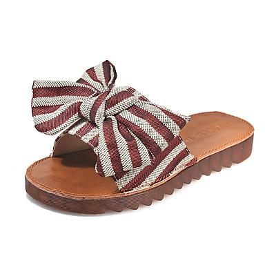 voordelige Damespantoffels & slippers-Dames Slippers & Flip-Flops Platte hak Polyester Zomer Zwart / Rood