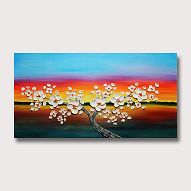 Hang-роспись маслом Ручная роспись - Абстракция Цветочные мотивы / ботанический Modern Без внутренней части рамки
