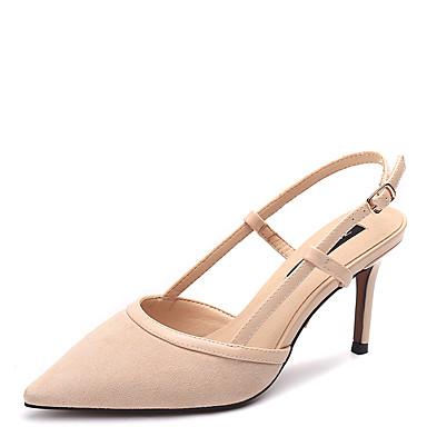 Kadın's Sandaletler Stiletto Topuk Sivri Uçlu Süet Günlük Yaz Siyah / Çıplak