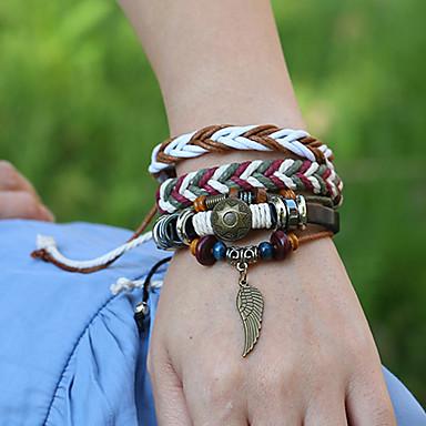 abordables Bracelet-3pcs Bracelets Vintage Boucles d'oreilles / Bracelet Loom Bracelet Homme Femme Multirang En bois Tissage Classique Rétro Vintage Ethnique Mode Bohème Bracelet Bijoux Marron pour Quotidien Ecole Plein