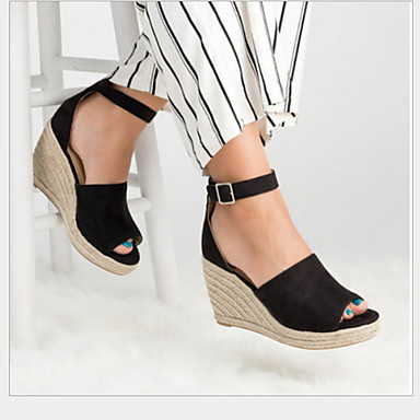 Kadın's Sandaletler Dolgu Topuk Burnu Açık Toka Suni Deri Yaz Siyah / Leopar / Kahverengi