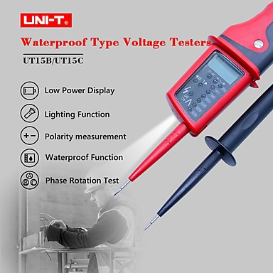 cheap Testers & Detectors-UNI-T UT15C Digital Voltage Meter Waterproof AC/DC Voltage Testers LCD Display 24V690V Auto Range Phase Rotation