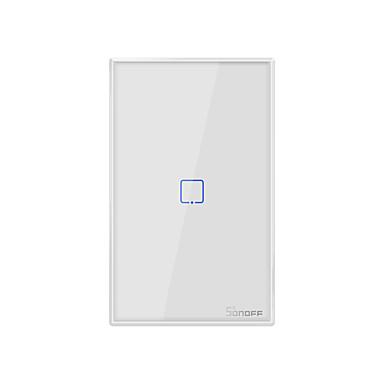 Недорогие Электонные выключатели-Sonoff T0US1C-TX 100-240 В серии TX Wi-Fi настенный выключатель умный настенный сенсорный выключатель света для умного дома работать с Алексой Google Home 1ch
