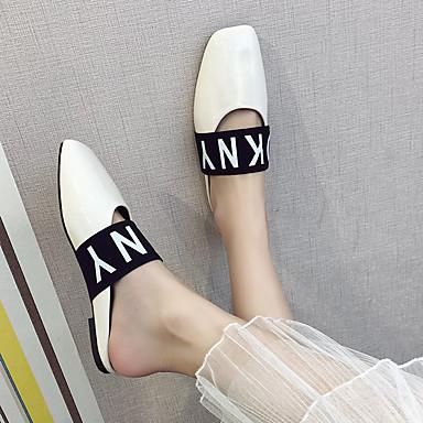 voordelige Damespantoffels & slippers-Dames Slippers & Flip-Flops Platte hak Vierkante Teen PU Lente & Herfst Zwart / Wit / Bordeaux / leuze