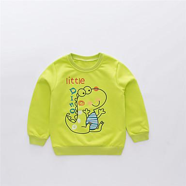 baratos Moletons Para Meninos-Infantil Para Meninos Básico Moda de Rua Estampado Estampa Colorida Estampado Manga Longa Algodão Moleton & Blusa de Frio Verde