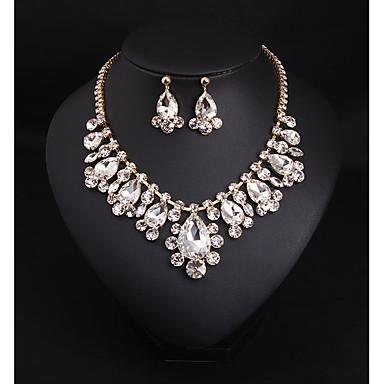 Kadın's Temiz Kristal Gelin Takı Setleri Avize Aşk Armut İfade Zarif Küpeler Mücevher Beyaz Uyumluluk Düğün Parti 1set