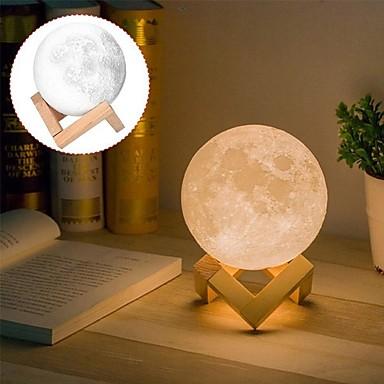 povoljno Ukrasna svjetla-1pc dimmable mjesec 3d noćno svjetlo vrtić noćno svjetlo s USB kabel žuta / bijela / topla bijela dekoracija