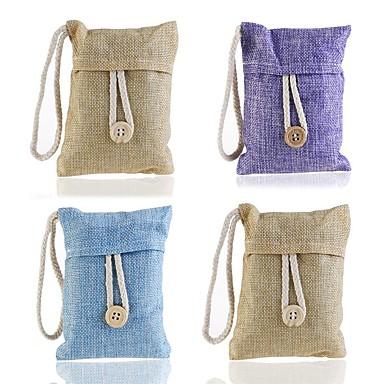 voordelige Auto-interieur accessoires-schattige bamboe houtskool tas met hangende string& knop luchtreiniger voor auto huiskast geur absorber (willekeurige kleur)