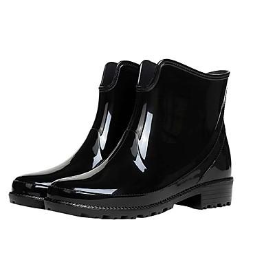 voordelige Dameslaarzen-Dames Laarzen Lage hak Ronde Teen PVC Kuitlaarzen Informeel Lente & Herfst Zwart / Rood / Blauw