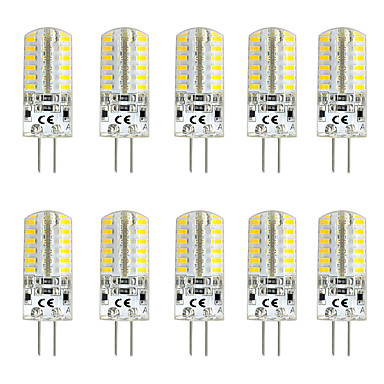 billige Elpærer-10pcs 3 W LED-lamper med G-sokkel 300 lm G4 T 48 LED perler SMD 3014 Varm hvit Hvit Rød 12 V