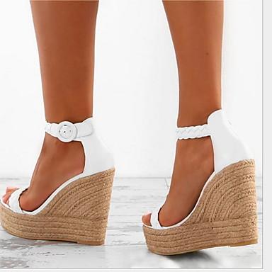 hesapli Kadın Sandaletleri-Kadın's Sandaletler Dolgu Topuk Yuvarlak Uçlu Toka PU İlkbahar & Kış / Yaz Beyaz / Altın