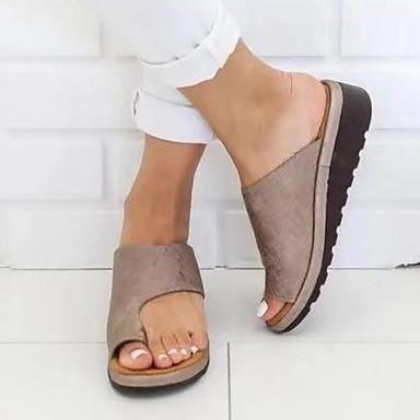 hesapli Kadın Sandaletleri-Kadın's Sandaletler Düz Taban Yuvarlak Uçlu PU İlkbahar & Kış / Yaz Siyah / Leopar / Mor