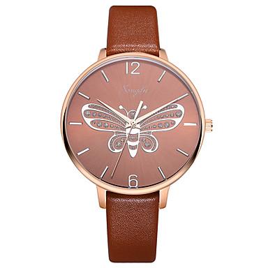 baratos Relógios Homem-Mulheres Relógio Elegante Quartzo Couro Marrom 30 m Impermeável Relógio Casual Analógico Casual Borboleta - Marron Um ano Ciclo de Vida da Bateria
