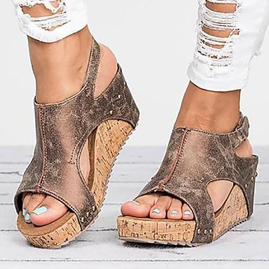 hesapli Kadın Sandaletleri-Kadın's Sandaletler Dolgu Topuk PU Yaz Siyah / Kahverengi / Bej