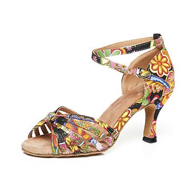Žene Plesne cipele Saten Cipele za latino plesove Štikle Deblja visoka potpetica Bijela / Plava / Seksi blagdanski kostimi / Vježbanje