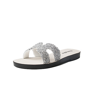 voordelige Damespantoffels & slippers-Dames Slippers & Flip-Flops Platte hak Open teen PU Zomer Zwart / Zilver