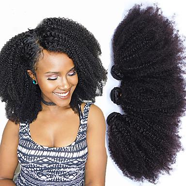 """baratos Extensões de Cabelo Natural-3 pacotes Cabelo Mongol Afro Cabelo Humano Um Pacote de Solução 8""""-26"""" Natural Tramas de cabelo humano Extensões de cabelo humano"""