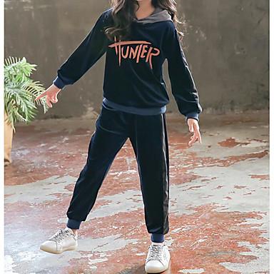 levne Sady oblečení-Děti Dívčí Základní Čínské vzory Jednobarevné Dlouhý rukáv Standardní Spandex Sady oblečení Černá