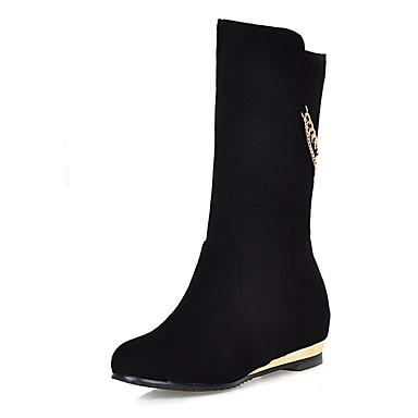 voordelige Dameslaarzen-Dames Laarzen Verborgen hiel Ronde Teen Suède Kuitlaarzen Informeel / minimalisme Winter Zwart / Wijn