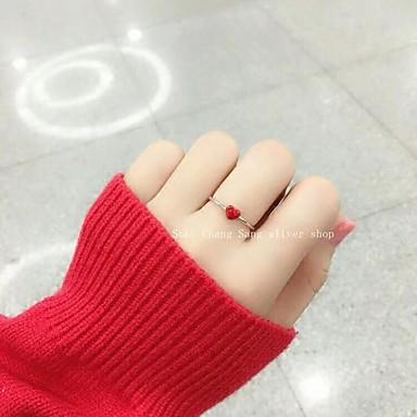 abordables Bague-rouge classique réglable anneau coeur sweet mignon base simple anneau élégant bijoux rouge pour festival école rue vacances tous les jours réglable