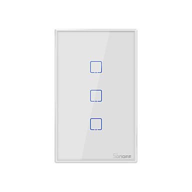 Недорогие Электонные выключатели-Sonoff T2US3C-TX 100-240 В серии TX Wi-Fi настенный выключатель умный настенный сенсорный выключатель света для умного дома работать с alexa google home 3ch