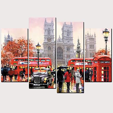 abordables Toiles-Imprimé Impressions sur toile roulées - Niches Architecture Classique Moderne Quatre Panneaux Art Prints