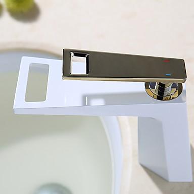Ванная раковина кран - Водопад Ti-PVD / Окрашенные отделки По центру Одной ручкой одно отверстиеBath Taps