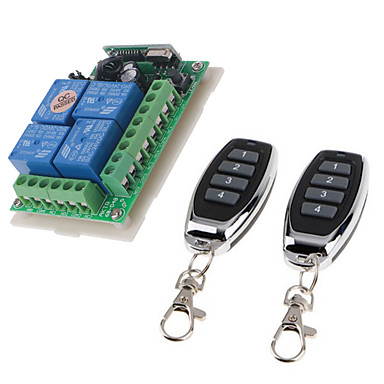 billige Smartbrytere-dc12v 4ch trådløs fjernkontrollbryter / smart relémottaker 10a relé / momentant / veksle / låst arbeidsvei kan endre / 433mhz enkelt å installere / dc12v strøm på / av