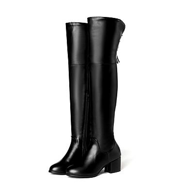 Kadın's Çizmeler Kalın Topuk Yuvarlak Uçlu PU Bilek Üstü Botlar İş / İngiliz Sonbahar Kış Siyah / Bej / Parti ve Gece