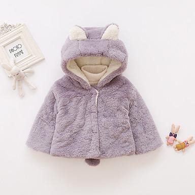 billige Ytterklær til baby-Baby Jente Aktiv / Grunnleggende Ensfarget / Lapper Normal Jakke og frakk Rosa
