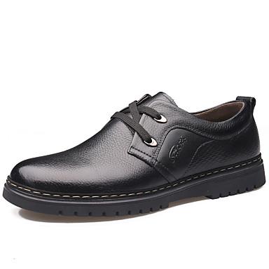 Férfi Kényelmes cipők Nappa Leather Tavaszi nyár / Ősz & tél Klasszikus / Brit Félcipők Csúszásmentes Fekete / Barna / Party és Estélyi