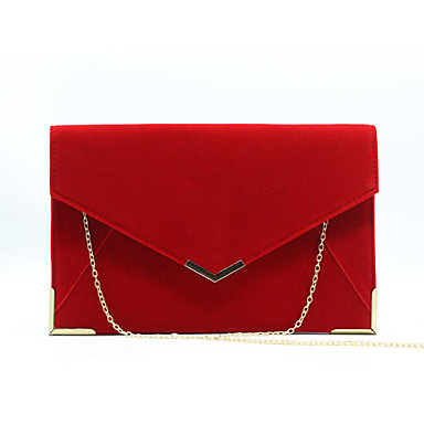 povoljno Torbe-Žene Večernja torbica Velvet Jedna barva Crn / Red / Crvena