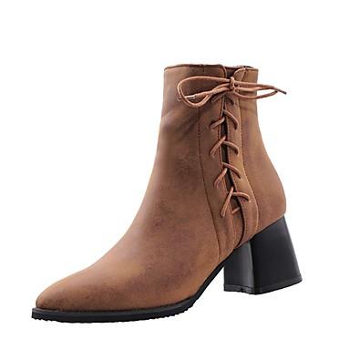 voordelige Dameslaarzen-Dames Laarzen Blokhak Gepuntte Teen PU Korte laarsjes / Enkellaarsjes Brits Herfst winter Bruin / Grijs