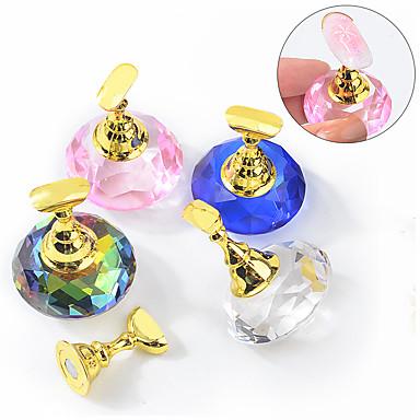 voordelige Nagelgereedschap & Apparatuur-1 set magnetische nagel houder praktijk training display stand acryl crystal houders lichtmetalen valse nagel tip salon diy manicure gereedschap