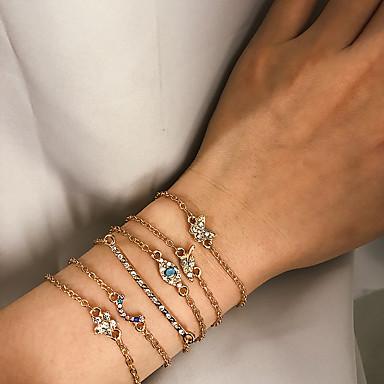 abordables Bracelet-6pcs Bracelet Femme Rétro Forme de Feuille Yeux Papillon Doux Bracelet Bijoux Dorée pour Cadeau Quotidien Ecole Vacances Travail