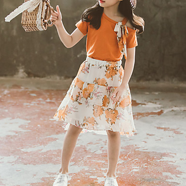 baratos Conjuntos para Meninas-Infantil Bébé Para Meninas Activo Básico Floral Multi Camadas Cordões Estampado Manga Curta Curto Curto Algodão Conjunto Laranja