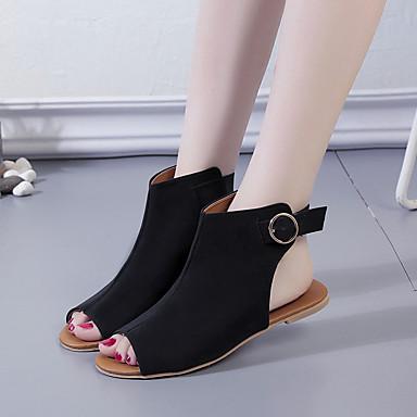 Kadın's Sandaletler Düz Taban Süet / PU Sonbahar / İlkbahar yaz Siyah / Siyah / Beyaz / Kahverengi
