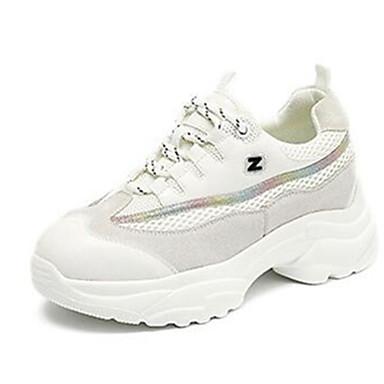 Kadın's Atletik Ayakkabılar Clunky Sneakers Gizli Topuk Örümcek Ağı Koşu Bahar Beyaz / Bej