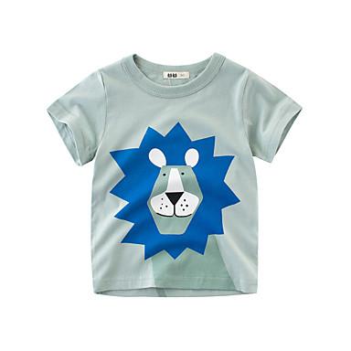povoljno Majice za dječake-Djeca Dječaci Osnovni Print Print Kratkih rukava Pamuk Majica s kratkim rukavima Svijetlo zelena