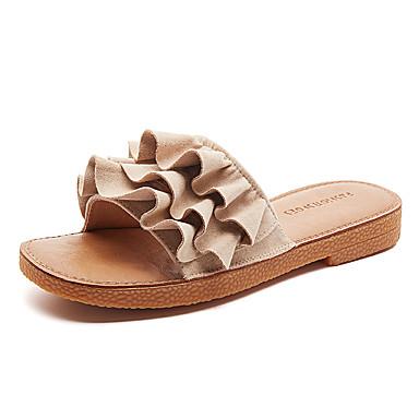 voordelige Damespantoffels & slippers-Dames Slippers & Flip-Flops Platte hak Open teen Strass Canvas Informeel Wandelen Zomer Zwart / Beige / Groen