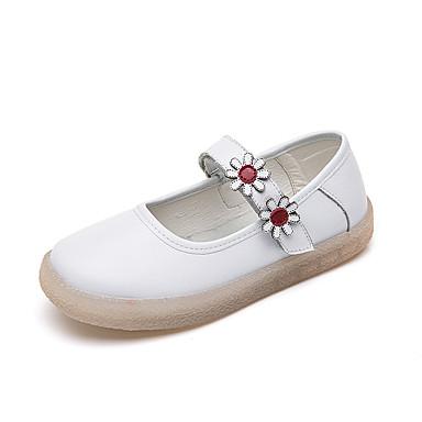 Kadın's Düz Ayakkabılar Düşük Topuk Yuvarlak Uçlu Deri İngiliz Yürüyüş Yaz Beyaz / Bej