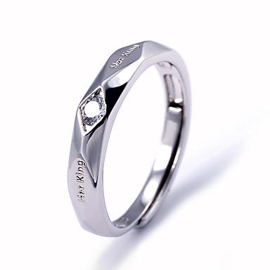 voordelige Herensieraden-Heren Bandring Ring Kubieke Zirkonia 1pc Wit Koper Geometrische vorm Stijlvol Eenvoudig Feest Lahja Sieraden Klassiek Cool