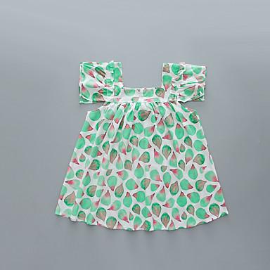 baratos Vestidos para Meninas-Infantil Bébé Para Meninas Básico Doce Fruta Pregueado Sem Manga Acima do Joelho Fibra de Bamboo Vestido Verde