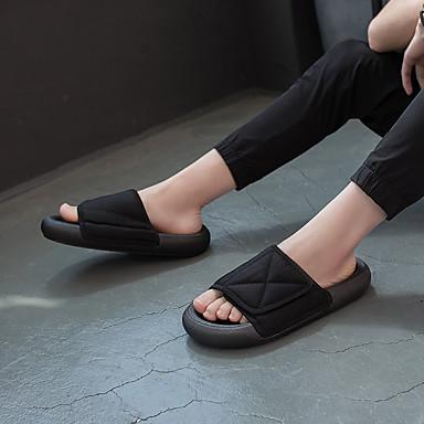 voordelige Damespantoffels & slippers-Unisex Slippers & Flip-Flops Platte hak Canvas Herfst / Lente zomer Zwart / Grijs