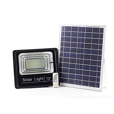 billiga Utomhusbelysning-1st 100 W LED-strålkastare / Vägglampor för Utomhusbruk / Solar Wall Light Vattentät / Fjärrstyrd / Sol Vit 3.2 V Utomhusbelysning / Simbassäng / Gård 196120 LED-pärlor