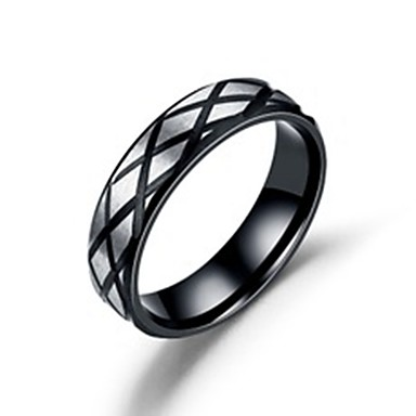 voordelige Herensieraden-Heren Dames Bandring Ring Staartring 1pc Zwart Roestvast staal Titanium Staal Cirkelvormig Standaard Modieus Lahja Dagelijks Sieraden Cool