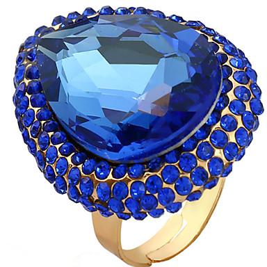 abordables Bague-Femme Anneau réglable 1pc Bleu de minuit Pierre Précieuse & Cristal / Alliage Ovale Luxe Soirée / Festival Bijoux de fantaisie