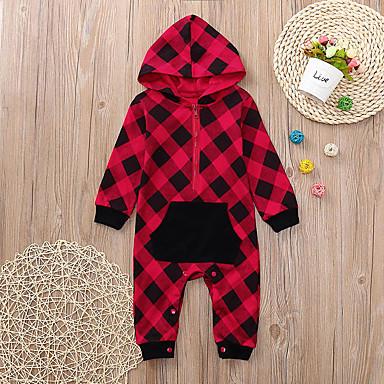 billige BabyGutterdrakter-Baby Gutt Grunnleggende Ruter Trykt mønster Langermet Endelt Rød