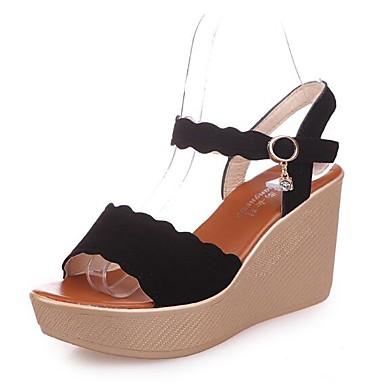 Kadın's Sandaletler Dolgu Topuk PU Yaz Siyah / Yeşil / Badem